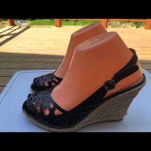 corso como Black Leather Straw Heel Sandals S 8.5